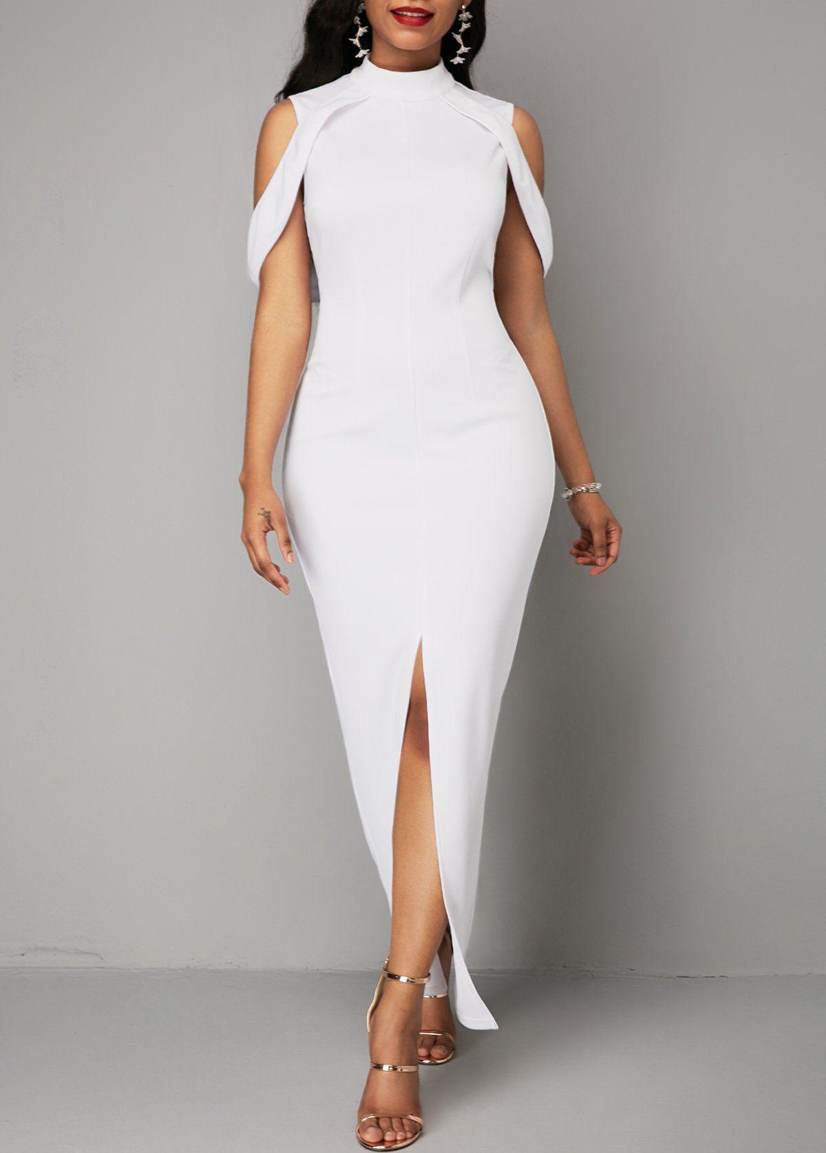 4bd9ab1a86 Cold Shoulder White Front Slit Zipper Back Dress in 2019 ...