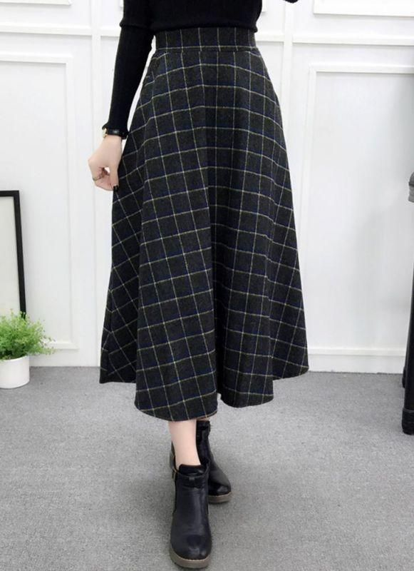 9a228dbcea7134 Chicloth Women Plaid Skirt Woolen High Elastic Waist Elegant A-Line Midi  Skirts