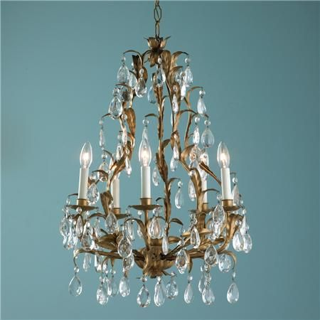 Antique 6 Lt Gold Leaves And Crystal Chandelier Shades Of Light