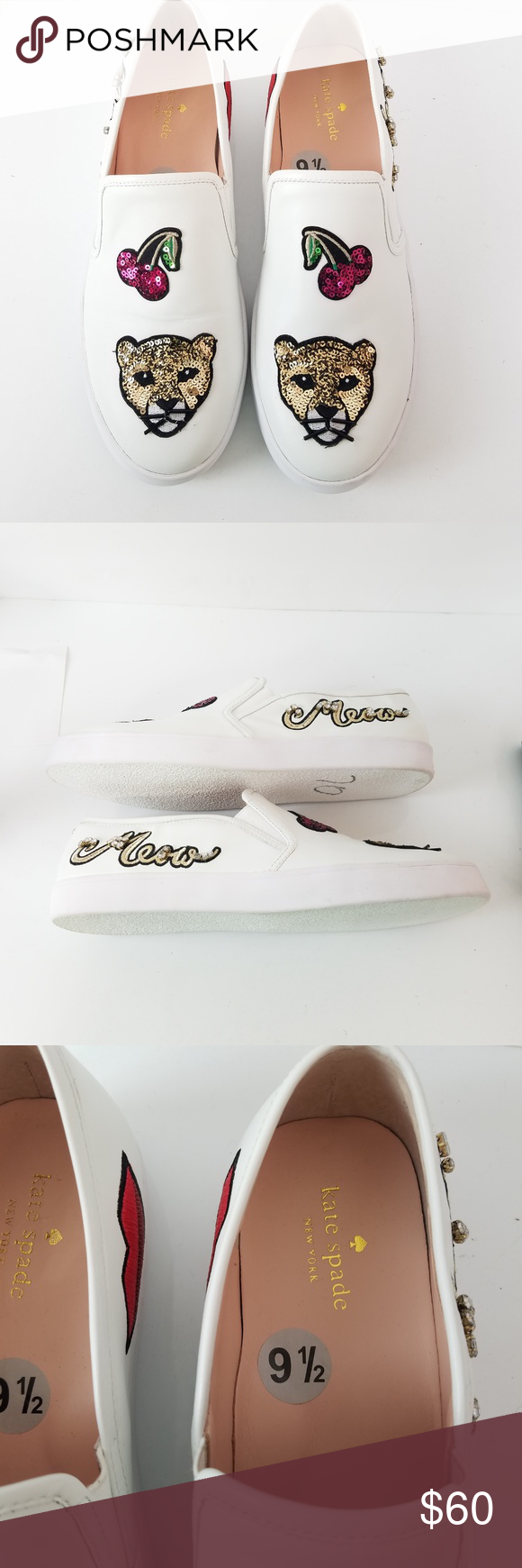 Kate Spade Slip On Cat Lizbeth Sneakers Leather Kate Spade