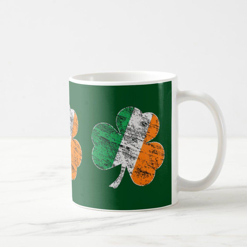 Irish Tricolor Distressed Shamrock St Patricks Day Coffee Mug