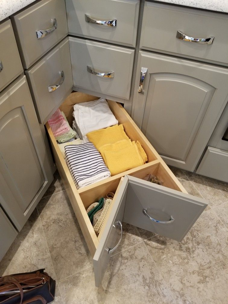 Bottom Drawer Of Corner Base Cabinet Drawers Are Very Deep Seen At Remodeled Home Tour Raleigh Apr 2018