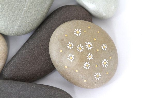Painting on Stone, Cottage Decor, White and Gold Painted Dainty Flowers on Smooth Rock