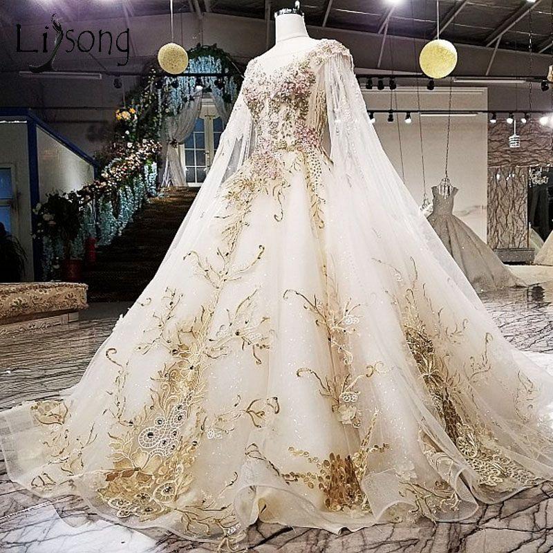 Gorgeous Embroidery Wedding Dresses 2018 Cloak Liques Rhinestone Bridal Gowns Royal Train Illusion Back Vestidos De