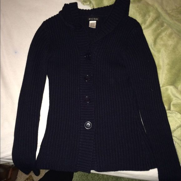 Navy blue button up knit sweater Very soft navy blue button up ...