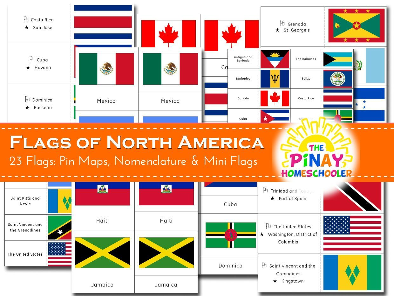 Flags Of North America America Theme North America Pin Map