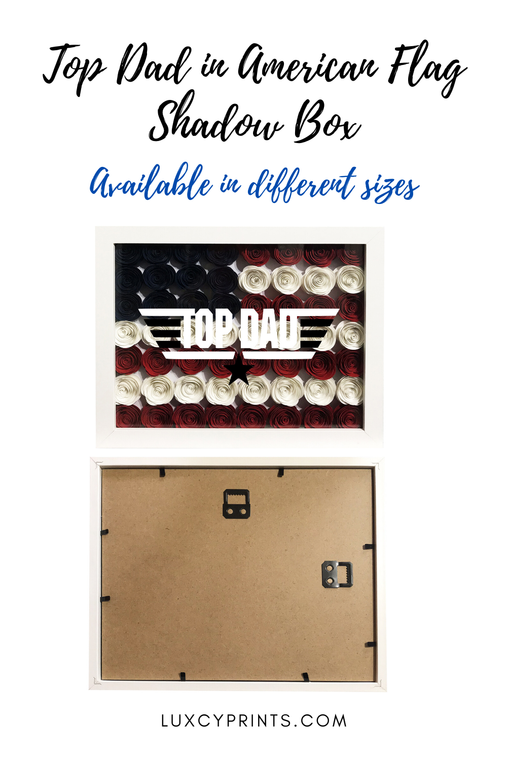 Top Dad in American Flag Shadow Box Paper Flower Father's