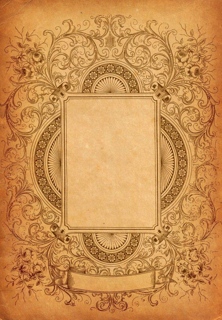 Ornate decorative border with paper texture background. | Retro ...