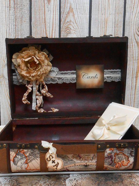suitcase wedding card holder  travel theme wedding