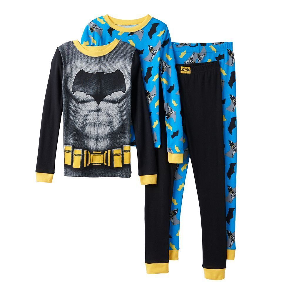 223094167 Boys 4-10 DC Comics Batman 4-Piece Pajama Set