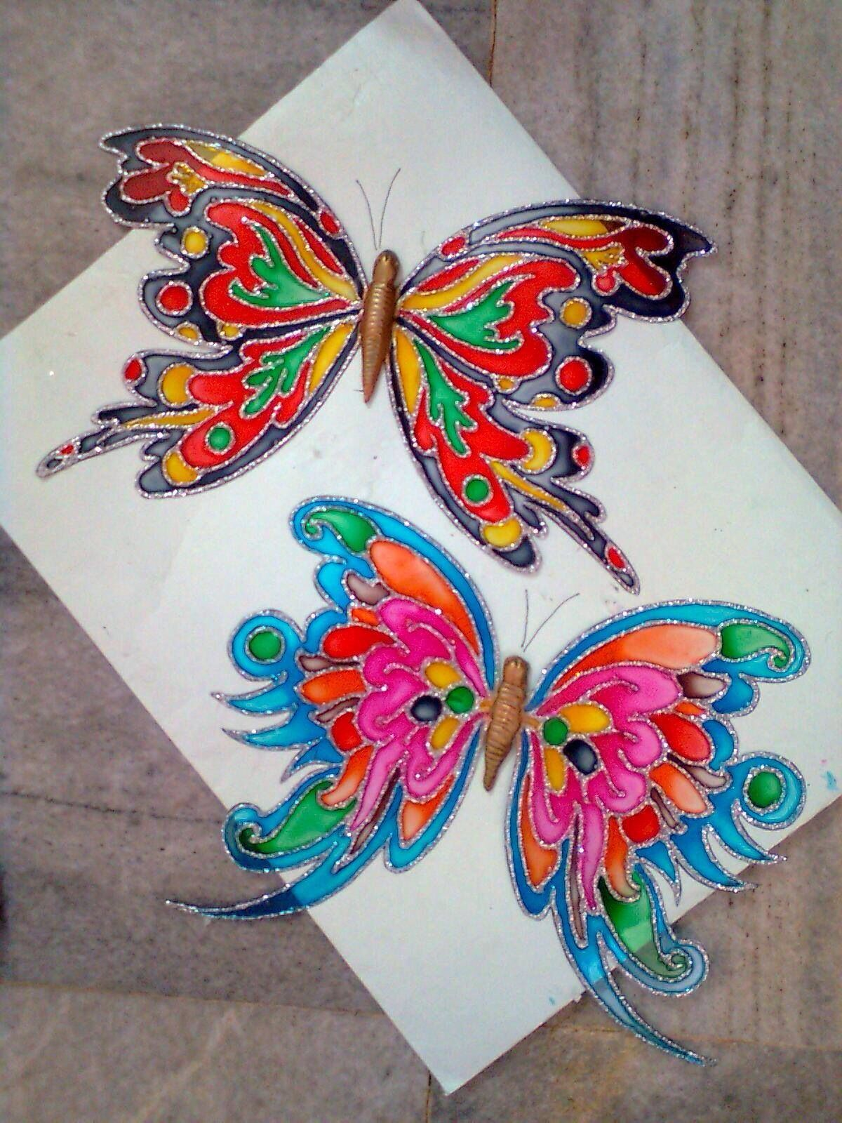 Beautiful Butterflies In Ohp Sheet Glass Painting Designs