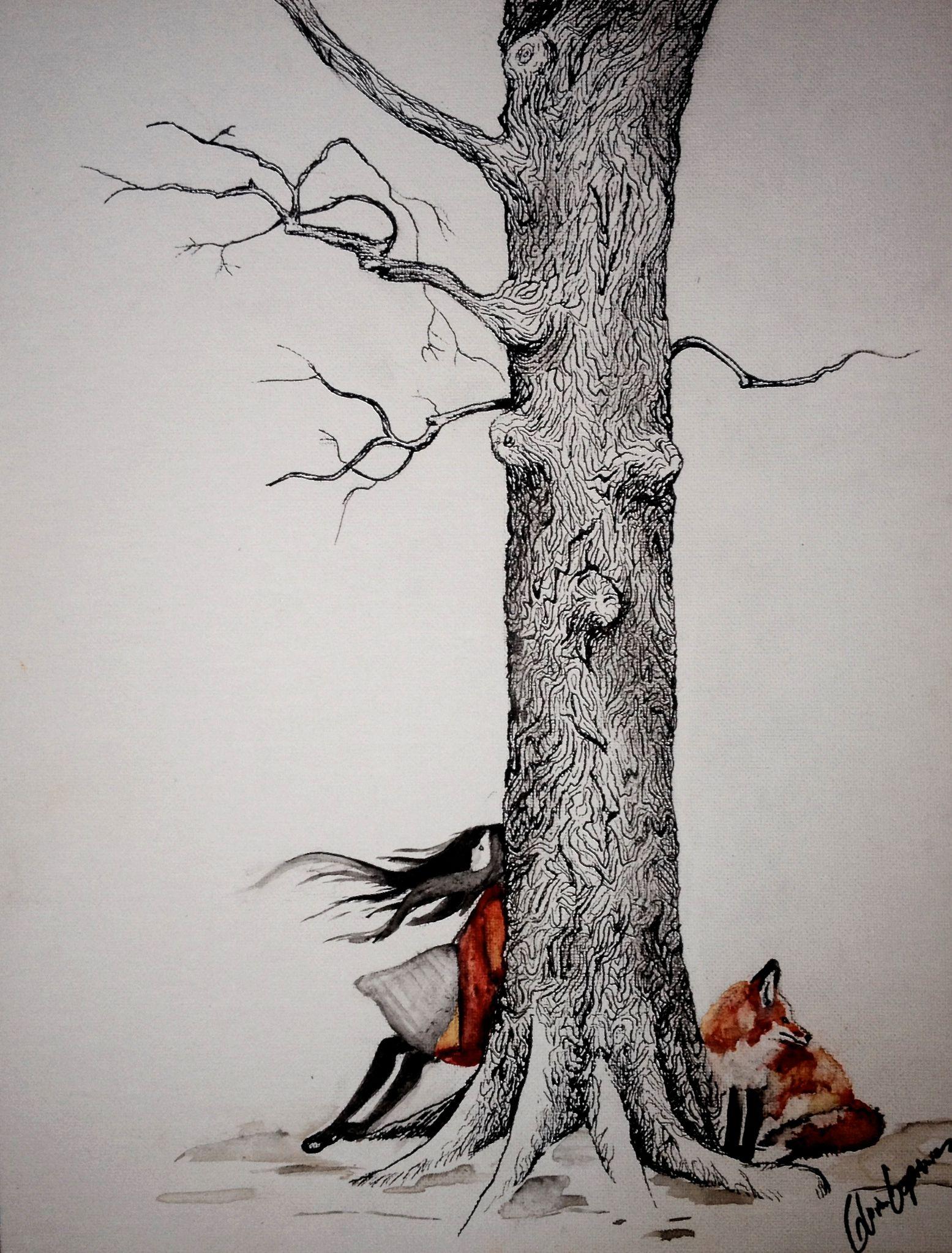 Original Art By Gloria E Woods Girl Fox Pen And Ink -6224