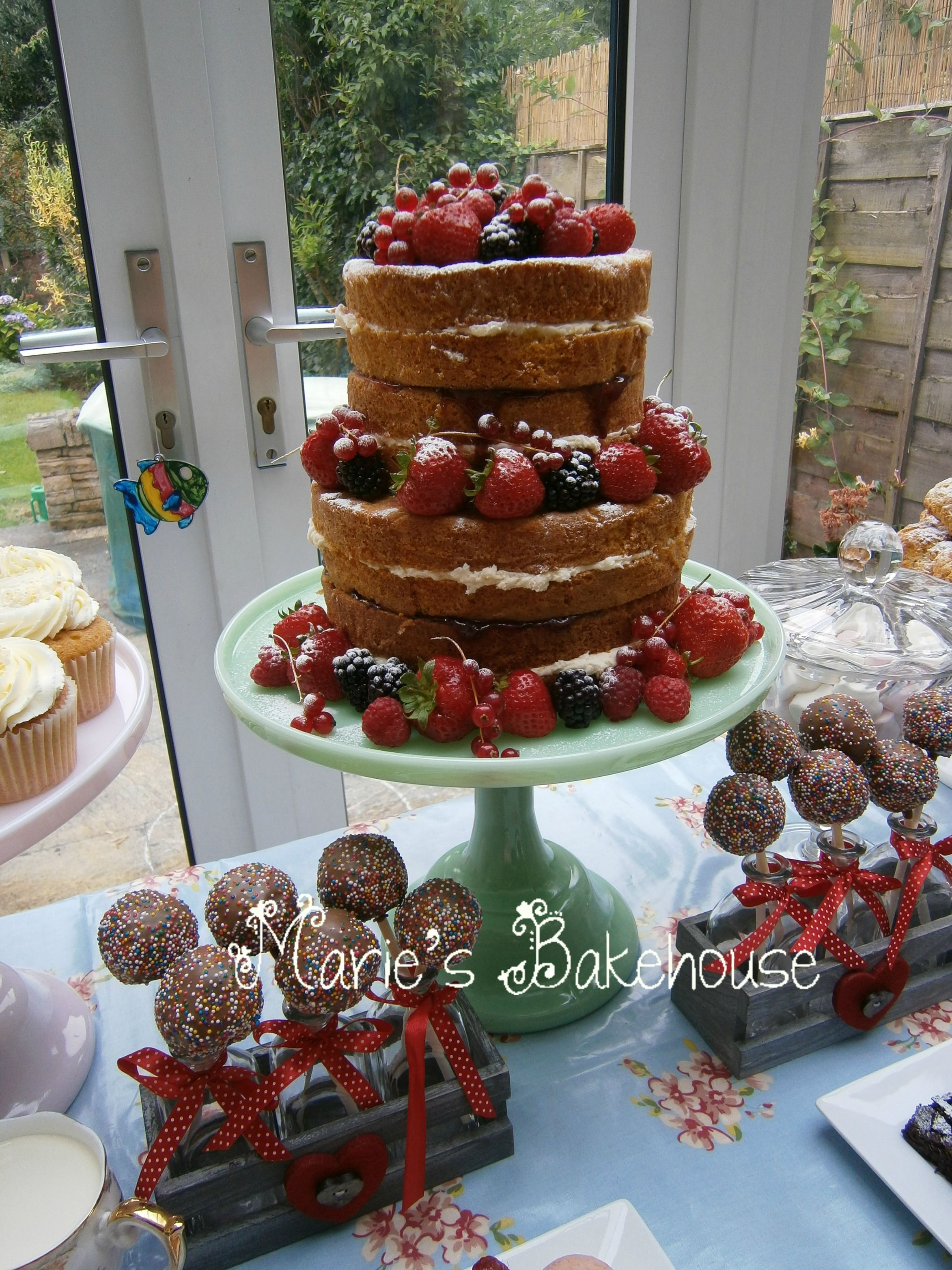 Two Tier Naked Vanilla Sponge Cake With Buttercream And Fresh Fruits Maries Bakehouse