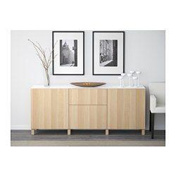 $480 BESTÅ Storage combination w doors/drawers - Lappviken white stained oak effect, drawer runner, push-open - IKEA