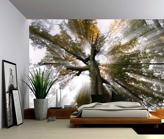 Sun Tree Rays Of Light   Large Wall Mural, Self Adhesive Vinyl Wallpaper, Part 58