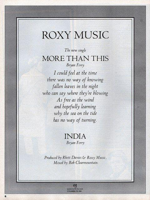 More Than This Lyrics Roxy Gastronomia Y Viajes
