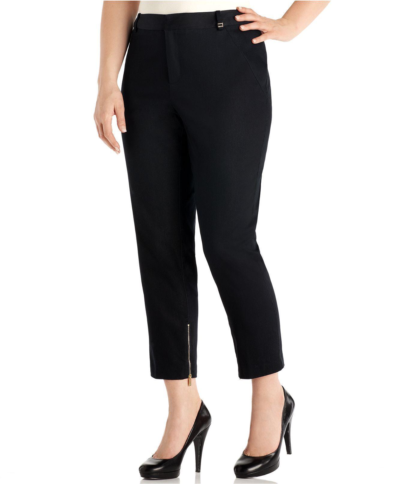 Calvin Klein Plus Size Pants Ankle Zip Skinny Cropped Plus Size