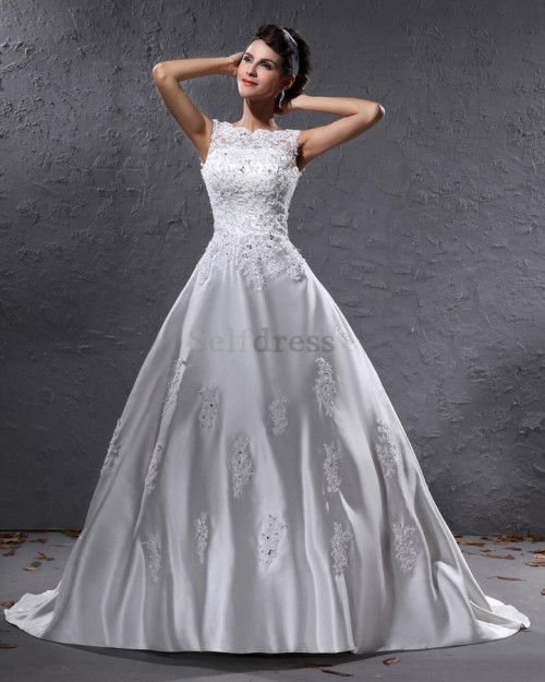 US$207.99] Overlay Bodice Rectangle White Court Train Ball Gown Thin ...
