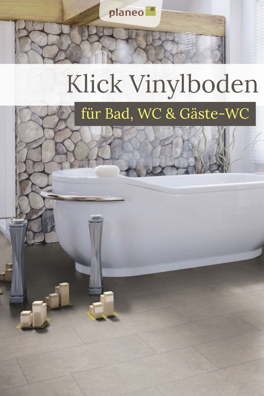 Klick Vinylboden Fur Bad Wc Und Gaste Wc Wasserbestandig Einfach Zu Verlegen In 2020 Vinylboden Gaste Wc Vinyl