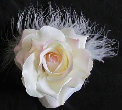 DUSTY PINK ROSE WITH WHITE FEATHERS  $5.00