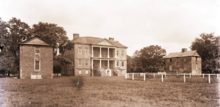 SC, Charleston, Drayton Hall - When photographed by George LaGrange Cook in about 1890, Drayton Hall's two flanker buildings were still extant. (an earthquake destroyed the laundry house in 1886 and a hurricane destroyed the kitchen in 1893)