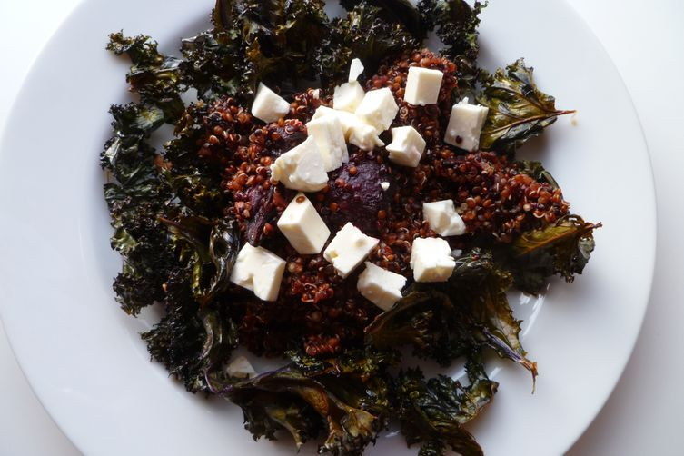 Warm Red and Black Quinoa Salad with Roasted Kale and Beets recipe on Food52