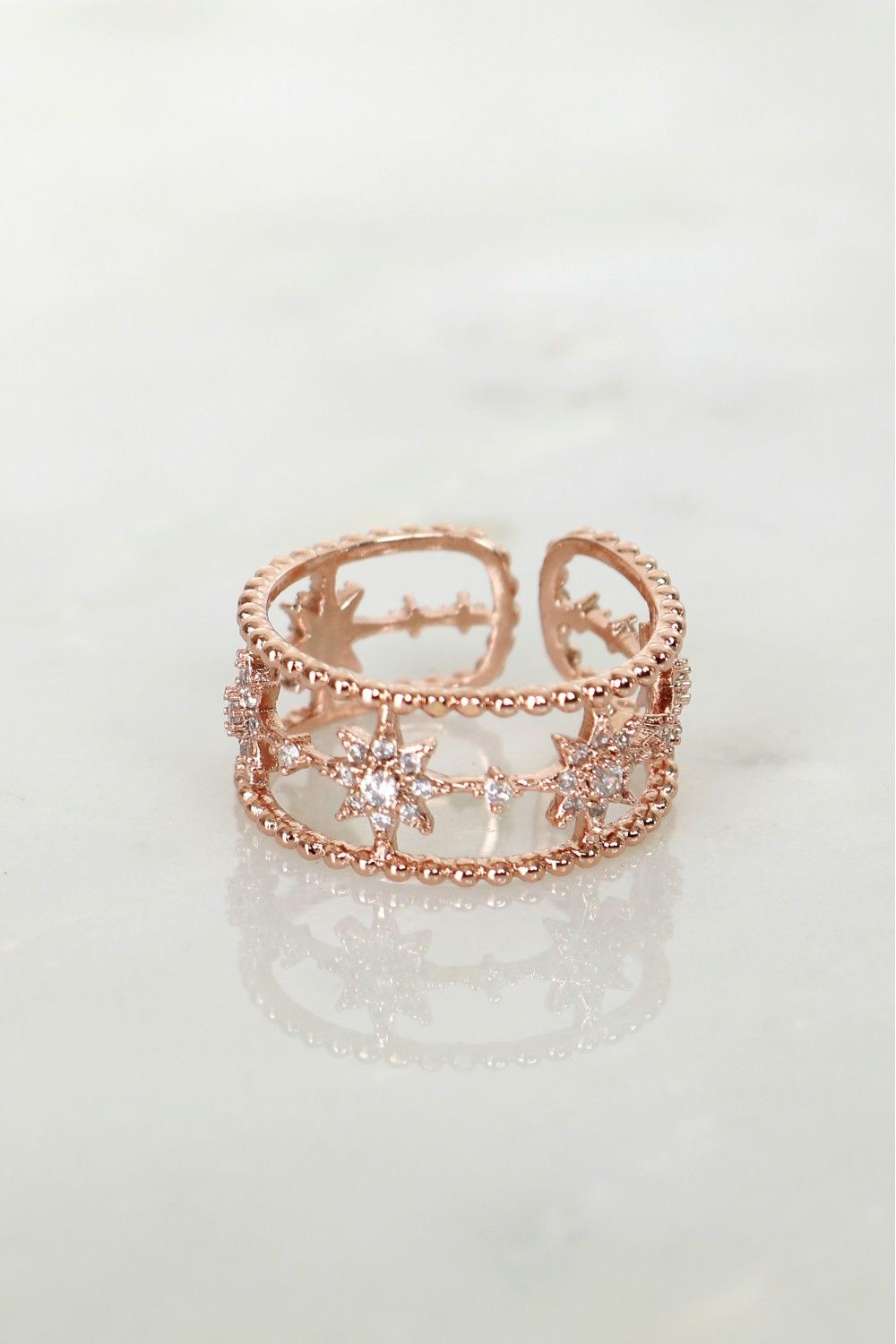 Detailed Star Ring Rose Gold Star ring Rose and Diamond