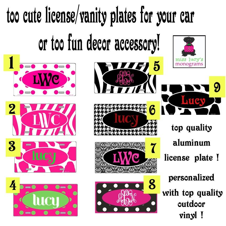 Personalized Metal License Plate 9 Patterns Miss Lucy S Monograms License Plate Art License Plate Monogram