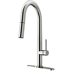 Vigo Greenwich Single Handle Pull Down Sprayer Kitchen Faucet With Deck Plate In Stainles In 2020 Stainless Steel Faucets Kitchen Faucet Stainless Steel Kitchen Faucet