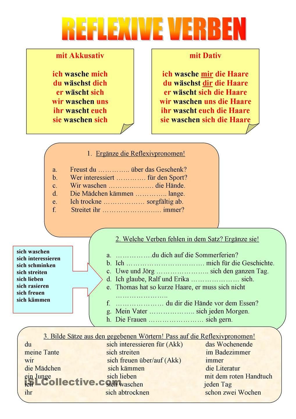 Reflexive Verben | Languages | Pinterest | German, German language ...