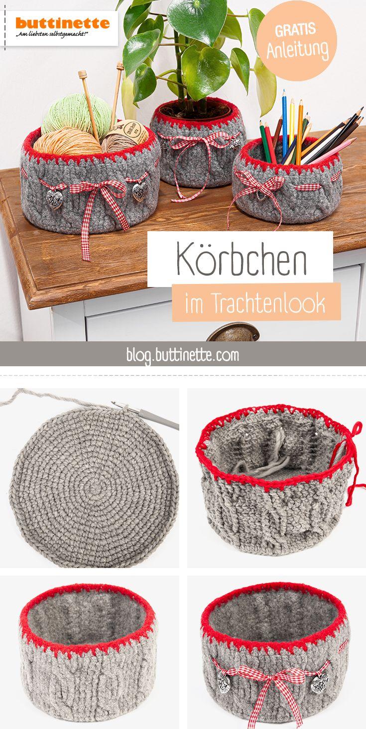 Photo of Körbchen im Trachtenlook häkeln