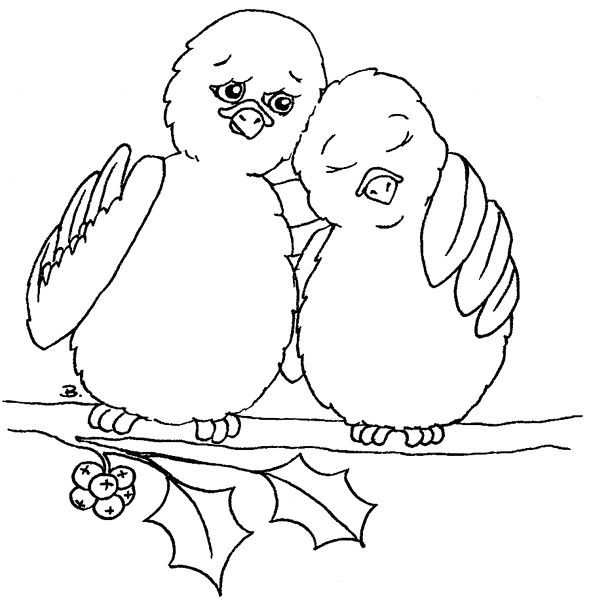 Two Turtle Doves Bird Embroidery Christmas Drawing Christmas