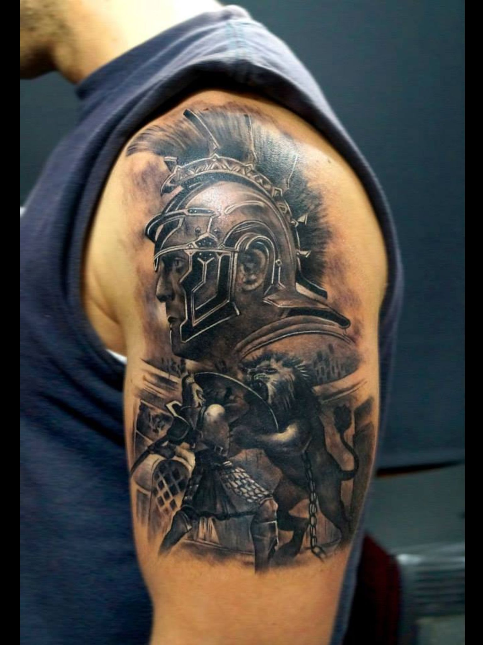 gladiator tattoo 3d tattoos pinterest gladiator tattoo tattoo and tatoos. Black Bedroom Furniture Sets. Home Design Ideas