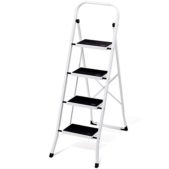 Delxo Folding 4 Step Ladder With Convenient Handgrip Anti Slip Sturdy And Wide Pedal 330lbs Portable Steel Step Stool White And Best Ladder Step Ladders Ladder