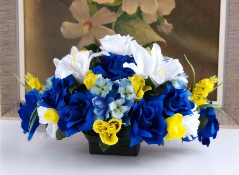 flower arrangement ... blue, yellow, white .