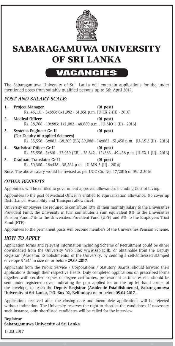 Sri Lankan Government Job Vacancies at Sabaragamuwa University of - it project manager job description
