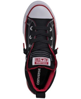 7c52f77262fb Converse Boys  Chuck Taylor All Star Street Mid Casual Sneakers from Finish  Line - BLACK WHITE RED 6