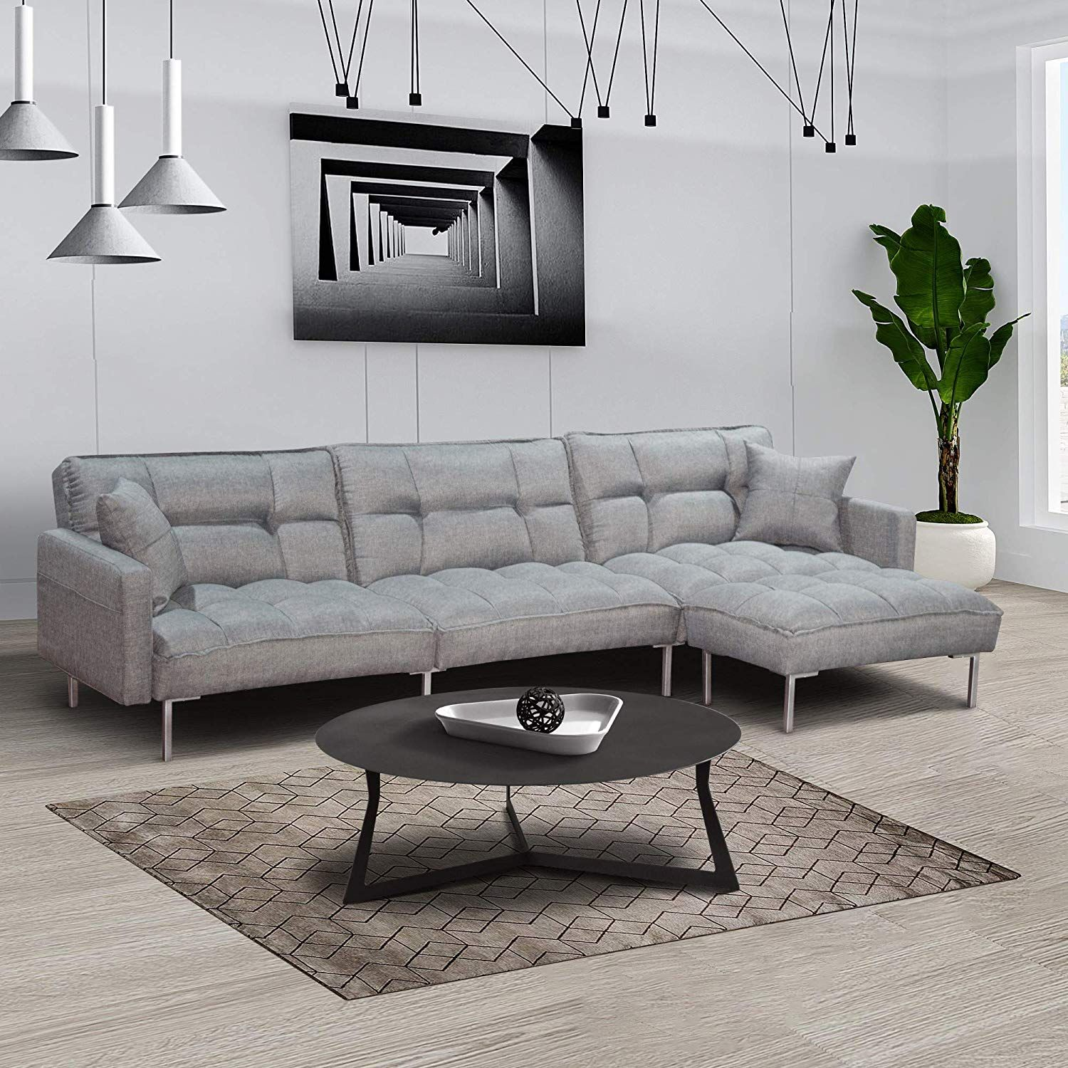 Dercass Modern Design L Shaped Couch Sectional Sofa Sleeper Fabric Convertible Sectional Sofa In 2020 Corner Sofa Living Room Sectional Sofa Grey Furniture Living Room