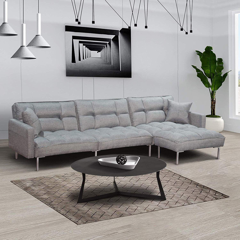 Dercass Modern Design L Shaped Couch Sectional Sofa Sleeper Fabric