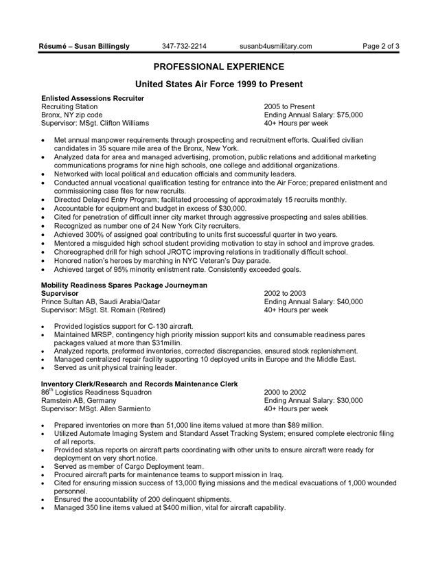 Federal Government Resume Example -    wwwresumecareerinfo - military resume example