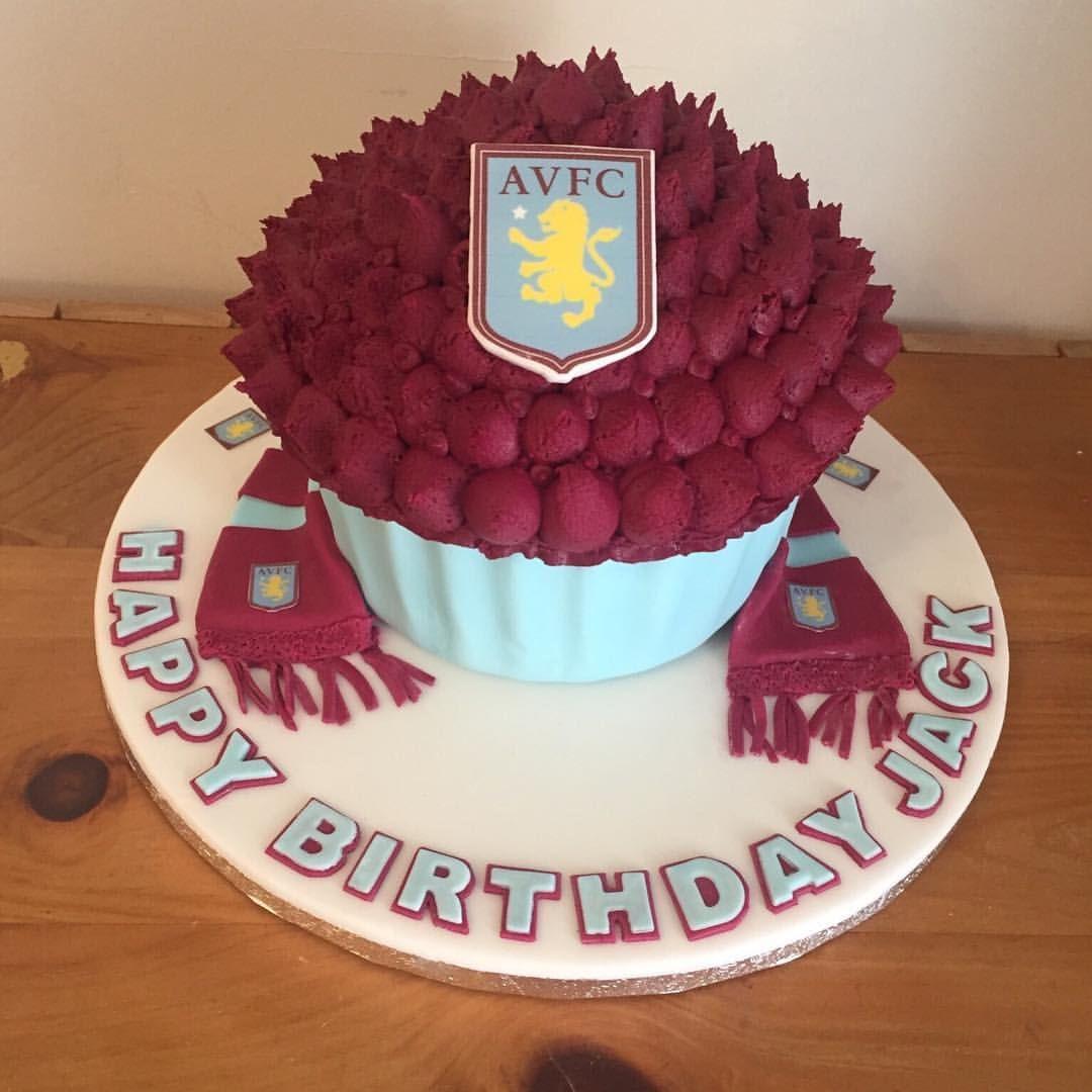 Aston Villa Giant Cupcake Birthday Cake Giantcupcake Cupcake Astonvilla Scarf Blue Burgundy Football Big Cupcake Cake Giant Cupcakes