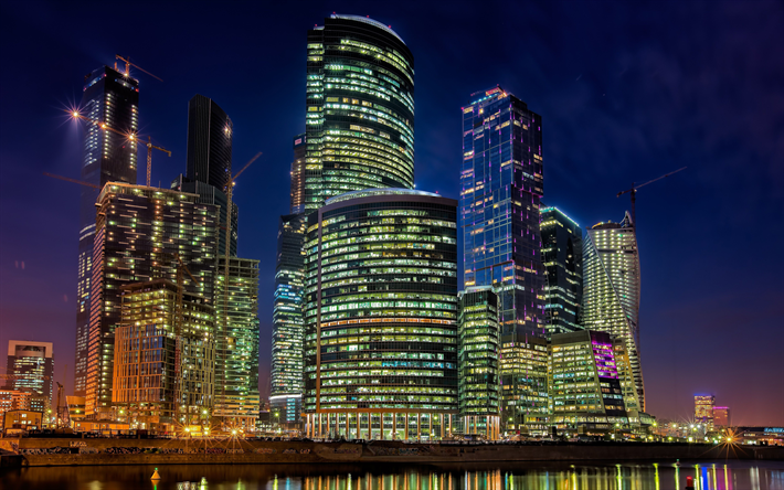 Download wallpapers moscow city 4k skyscrapers modern buildings moscow night russia - 4k wallpaper russia ...