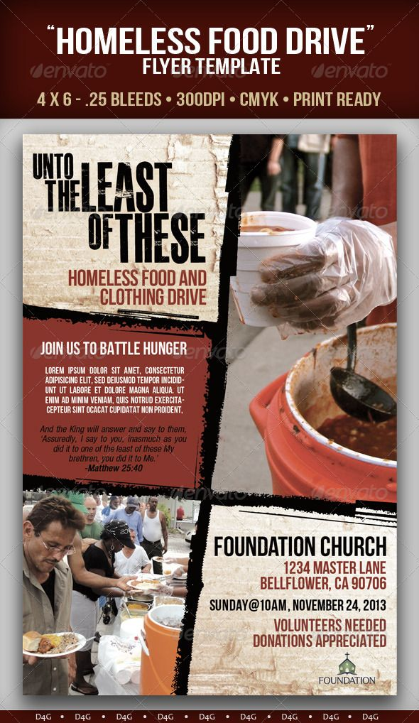 homeless food drive flyer template can be used for church services