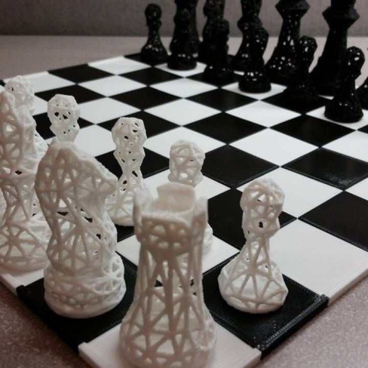 3D Printable Chess Set Wireframe by Giulia Principe