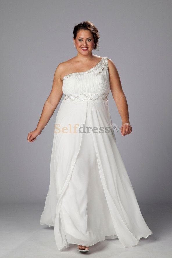 Empire Waist Chiffon Elegant & Luxurious Plus Size Simple Wedding ...
