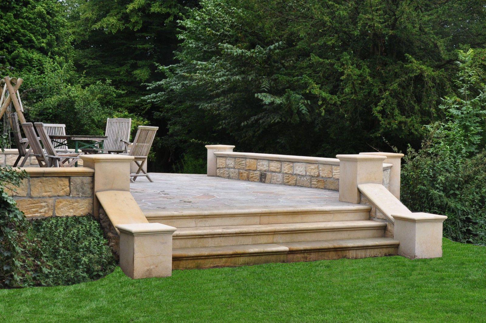details zu sandstein blockstufe 80 x 30 x 15 cm b1 gartentreppe