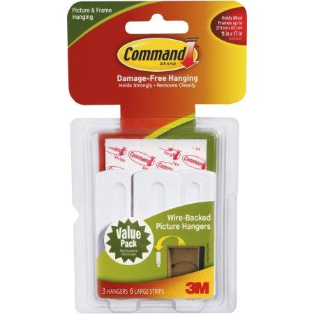 Command 17043 3 x Wire Backed Picture Hangers With Command Strips Value