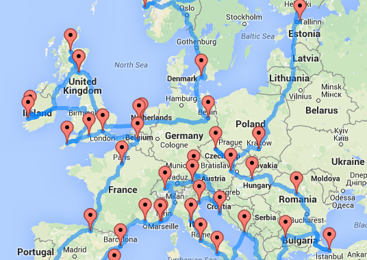 europe map for trip planning This Map Shows the Quickest (and Ultimate) Road Trip Across Europe