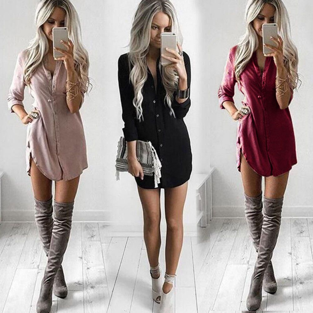 Womens plain shirt dress ladies long sleeve boyfriend casual shirt