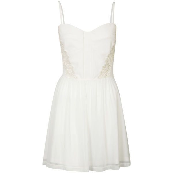 bce581d4ef08 Club L Women s Sweetheart Neckline Flower Crochet Dress ( 13) ❤ liked on  Polyvore featuring. White Crochet DressesShort ...